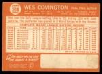 1964 Topps #208  Wes Covington  Back Thumbnail