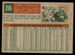 1959 Topps #206  Carl Furillo  Back Thumbnail