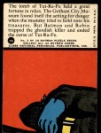 1966 Topps Batman Red Bat #3   The Menacing Mummy Back Thumbnail