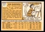 1963 Topps #317  Sam McDowell  Back Thumbnail