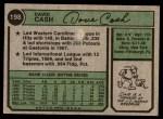 1974 Topps #198  Dave Cash  Back Thumbnail
