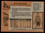 1975 Topps #21  Bob Paradise  Back Thumbnail