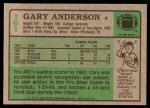1984 Topps #161  Gary Anderson  Back Thumbnail