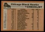 1975 Topps #84   Blackhawks Team Checklist Back Thumbnail