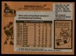 1975 Topps #254  Dennis Hull   Back Thumbnail