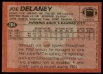 1983 Topps #284  Joe Delaney  Back Thumbnail