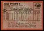 1983 Topps #255  Mike Pruitt  Back Thumbnail