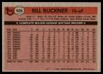 1981 Topps #625  Bill Buckner  Back Thumbnail