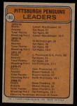 1974 Topps #183   -  Lowell MacDonald / Syl Apps Jr. Penguins Leaders Back Thumbnail