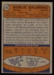 1974 Topps #180  Borje Salming  Back Thumbnail