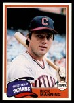 1981 Topps #308  Rick Manning  Front Thumbnail