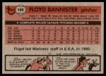 1981 Topps #166  Floyd Bannister  Back Thumbnail