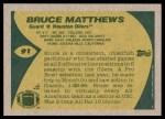 1989 Topps #91  Bruce Matthews  Back Thumbnail