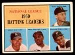1961 Topps #41   -  Roberto Clemente / Willie Mays / Dick Groat / Norm Larker NL Batting Leaders Front Thumbnail