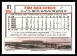 1992 Topps Traded #8 T Tim Belcher  Back Thumbnail