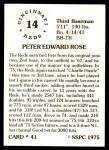1976 SSPC #41  Pete Rose  Back Thumbnail