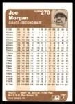 1983 Fleer #270  Joe Morgan  Back Thumbnail