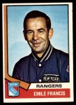 1974 Topps #9  Emile Francis  Front Thumbnail