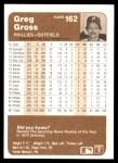 1983 Fleer #162  Greg Gross  Back Thumbnail