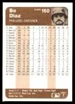 1983 Fleer #160  Bo Diaz  Back Thumbnail