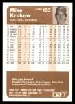 1983 Fleer #163  Mike Krukow  Back Thumbnail