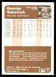 1983 Fleer #176  George Vukovich  Back Thumbnail