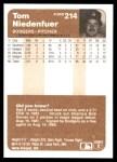 1983 Fleer #214  Tom Niedenfuer  Back Thumbnail