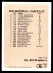 1983 Fleer #656   Astros / Mariners Team Checklist Back Thumbnail