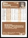 1983 Fleer #19  Mike Ramsey  Back Thumbnail