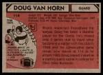 1980 Topps #114  Doug Van Horn  Back Thumbnail