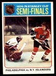 1975 Topps #2   Stanley Cup Semi-Finals - Philadelphia vs. NY Islanders Front Thumbnail