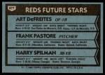 1980 Topps #677   -  Art DeFreites / Frank Pastore / Harry Spilman  Reds Rookies Back Thumbnail