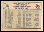 1983 O-Pee-Chee #203   -  Wayne Gretzky Hart Trophy Back Thumbnail