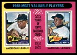 1975 O-Pee-Chee #203   -  Zoilo Versalles / Willie Mays 1965 MVPs Front Thumbnail