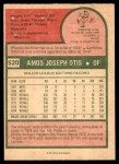 1975 O-Pee-Chee #520  Amos Otis  Back Thumbnail