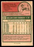 1975 O-Pee-Chee #501  Bill Robinson  Back Thumbnail
