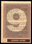 1977 O-Pee-Chee WHA #1  Gordie Howe  Back Thumbnail