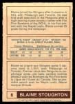 1977 O-Pee-Chee WHA #6  Blaine Stoughton  Back Thumbnail