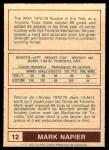 1977 O-Pee-Chee WHA #12  Mark Napier  Back Thumbnail