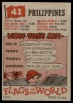 1956 Topps Flags of the World #41   Philippines Back Thumbnail