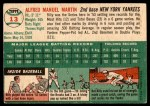 1954 Topps #13 WHT Billy Martin  Back Thumbnail