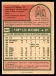 1975 O-Pee-Chee #240  Garry Maddox  Back Thumbnail
