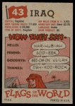 1956 Topps Flags of the World #43   Iraq Back Thumbnail