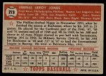1952 Topps #213  Vernal 'Nippy' Jones  Back Thumbnail