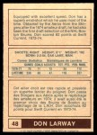 1977 O-Pee-Chee WHA #48  Don Larway  Back Thumbnail