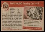 1954 Topps World on Wheels #153   Pope-Toledo Touring Car 1904 Back Thumbnail