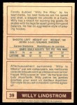 1977 O-Pee-Chee WHA #39  Willy Lindstrom,  Back Thumbnail