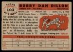 1956 Topps #103  Bobby Dillon  Back Thumbnail