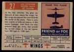 1952 Topps Wings #27   Sea Attacker Back Thumbnail