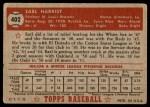 1952 Topps #402  Earl Harrist  Back Thumbnail